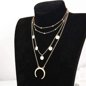 Crescent Pendant Multi-layer Collarbone Necklace