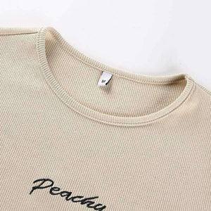 Peachy Letters Slim Bodysuit Top