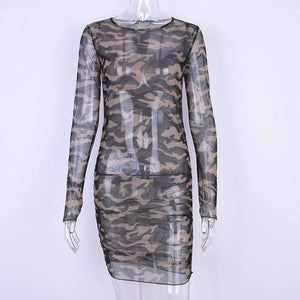 long sleeved camouflage sheer slim mini dress