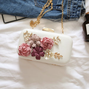 handmade flower PU dinner clutch bag