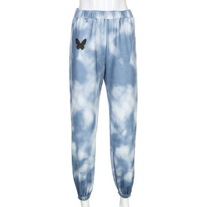 blue tie-dye butterfly printed casual jogger sweat pants