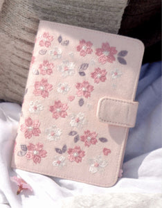 cloth cover sakura embroidery magnetic button A6 hardback notebook