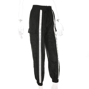 White Contrast Color Stripes Black Hip-pop Pants