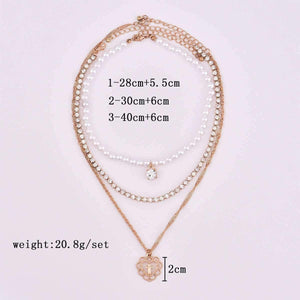 Full Pearls Rhinestones Cross Pendant Multi-layer Necklace Set