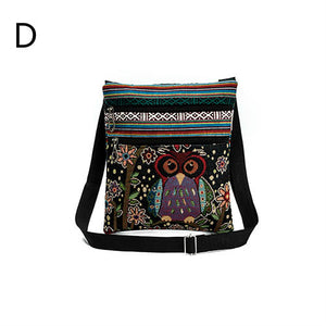 vintage owl jacquard double zippers cross body bag