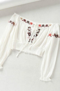 bohemian style embroidered slash neck crop top