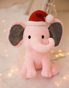 cute elephant in a christmas hat plush stuffed toys