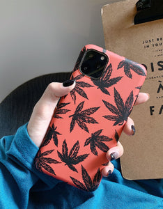 chic maple leaf printed frosted soft phone case