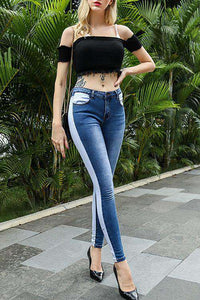 Cool Color Patch High Waist Skinny Jeans