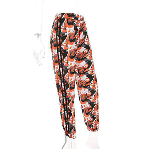 side stripes orange camouflage printed harem pants