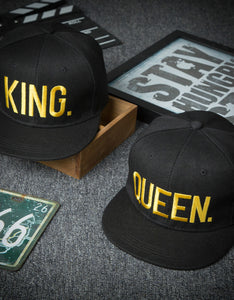 fashion queen&king embroidered hip-hop flat hat