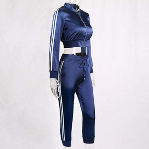 3 colors Silky Side Two Stripes Crop Jacket Joggers Sports Set