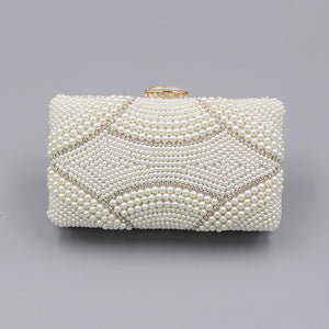 luxurious pearl embroidery chain dinner clutch