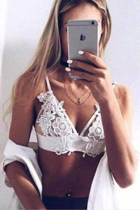 Floral Embroidery Patch Mesh Triangle Bralette Top