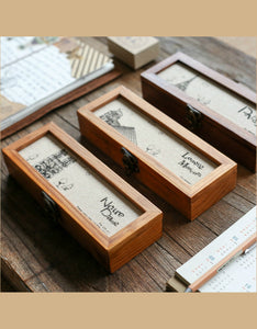 vintage lock wooden storage box pencil case