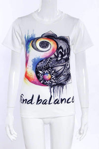 Print Balance Circles White Cotton T-shirt