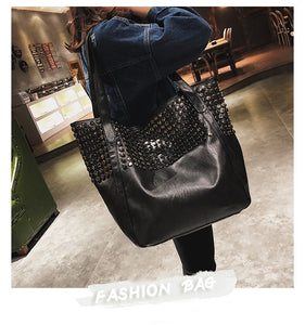 punk rivet PU large tote bag