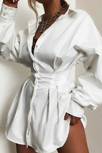 solid color deep v slim shirt dress