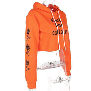 Gothic Cute But Callous Roses Printed Sleeves Crop Hooded Sweatshirt