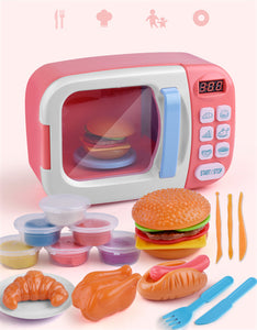 children's kitchen simulation microwave oven pretend toys set