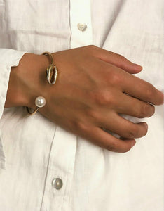 cowrie shell pearl beads charm cuff opening beach bracelet bangle
