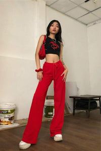 velvet solid color back embroidered wide-leg pants
