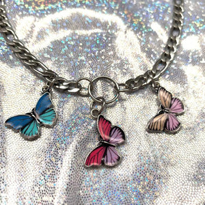 three butterflies pendant chic necklace