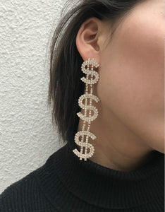 exaggerated dollar sign shaped rhinestone studded earring set