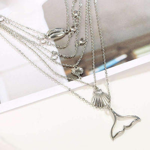 Beach Mermaid 6 Layers Necklace Set