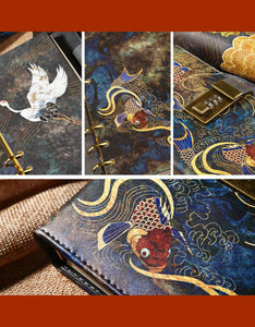 red-crowned crane $ fancy carp loose-leaf password leather notebook