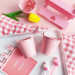 pink bucket modeling storage box pencil holder