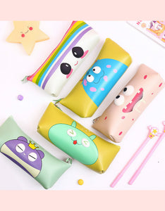 cartoon monster waterproof PU zipper pencil case