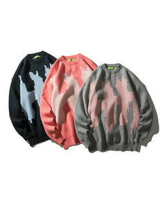 color matching o neck long sleeved sweater