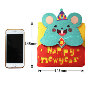 cute cartoon felt mouse cover wired notebook
