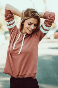 stripes patch sleeves hooded sweatshirt