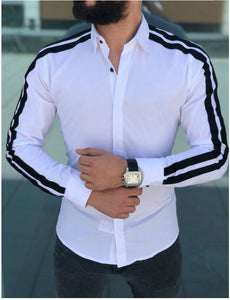 men turn down collar long sleeved stripes slim fit shirt