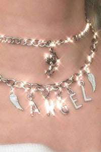 ANGEL wings pendant stainless steel necklace