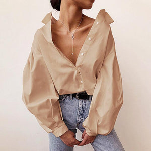 solid color lantern sleeved loose shirt