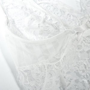 eyelash lace hem solid color hollow out 2-pieces lingerie