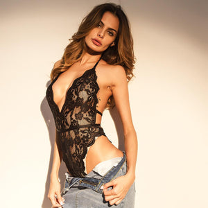 lace halter deep v backless slim lingeries bodysuit