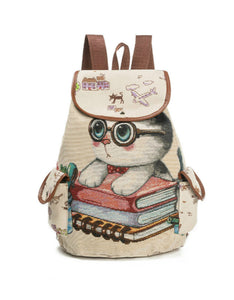cute cat printed canvas drawstring backpack school bag