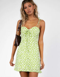 summer fresh bow-tie straps floral printed slim mini dress