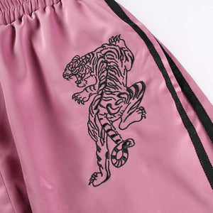 Punk Tiger Embroidered Pink Pants