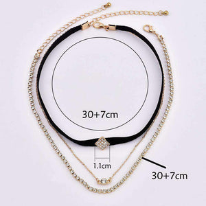 Diamond Shaped Rhinestones Multi-layer Necklace Set
