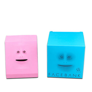 automatic sensor face bank money eating box toy
