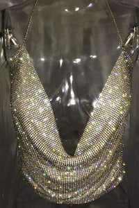 Twinkling Diamond Backless Low-cut Sling Tank Top
