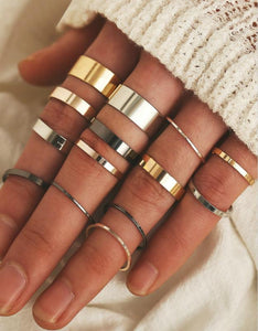 3 colors simple 14-pieces joint rings set