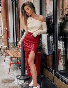 red pu leather one-side slit high waisted midi skirt