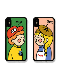 cartoon painting couple's soft phone case