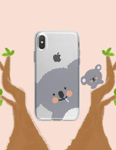 cartoon koala/deer printed transparent soft phone case